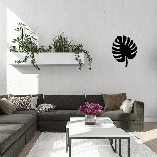plaque murale metal feuille tropicale noir salon