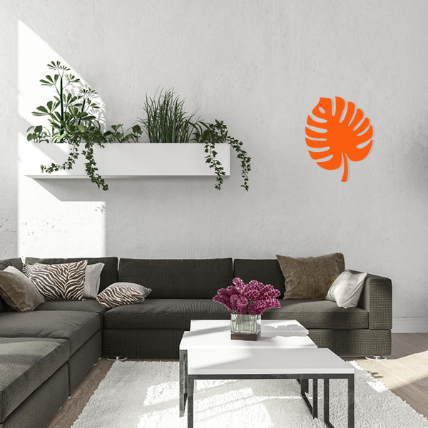 plaque murale metal feuille tropicale orange salon