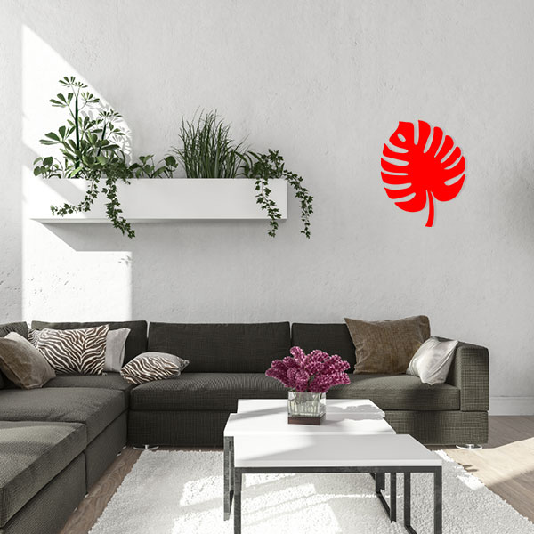 plaque murale metal feuille tropicale rouge salon