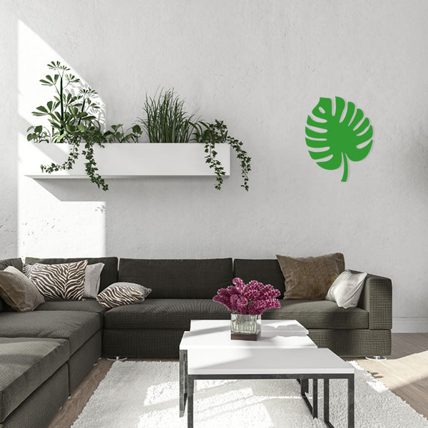plaque murale metal feuille tropicale vert salon
