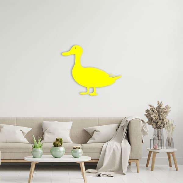 plaque murale metal canard jaune salon