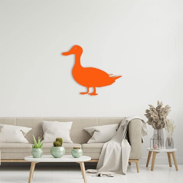 plaque murale metal canard orange salon