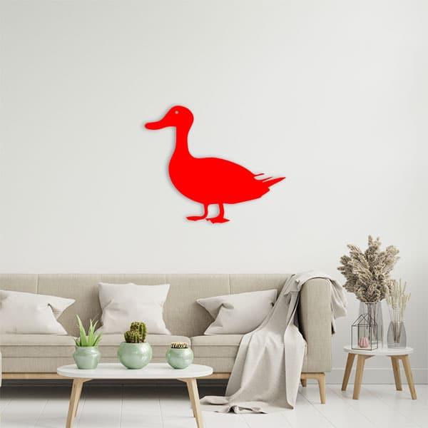 plaque murale metal canard rouge salon
