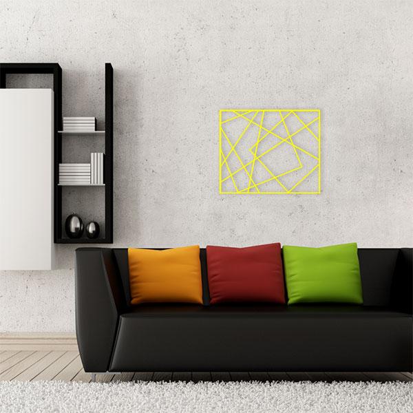 plaque murale métal cadre photos jaune salon