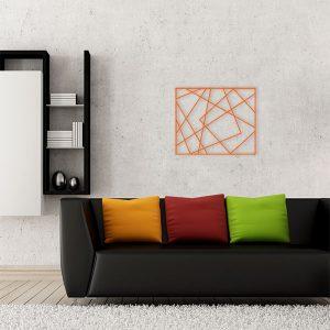 plaque murale métal cadre photos orange salon