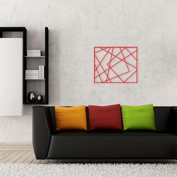 plaque murale métal cadre photos rouge salon