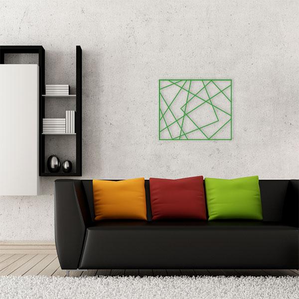 plaque murale métal cadre photos vert salon
