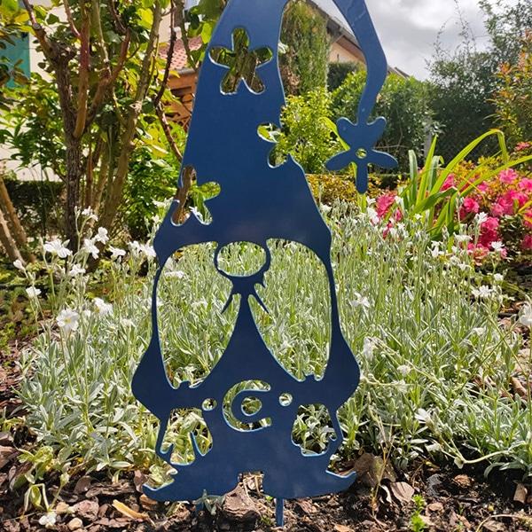 décoration jardin métal nain gnome bleu