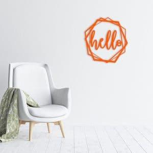 plaque murale métal hello octogone orange salon