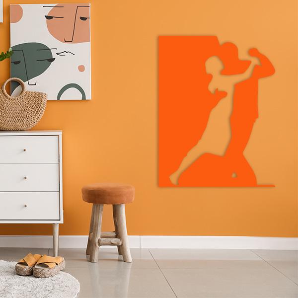 plaque murale metal danseurs orange salon