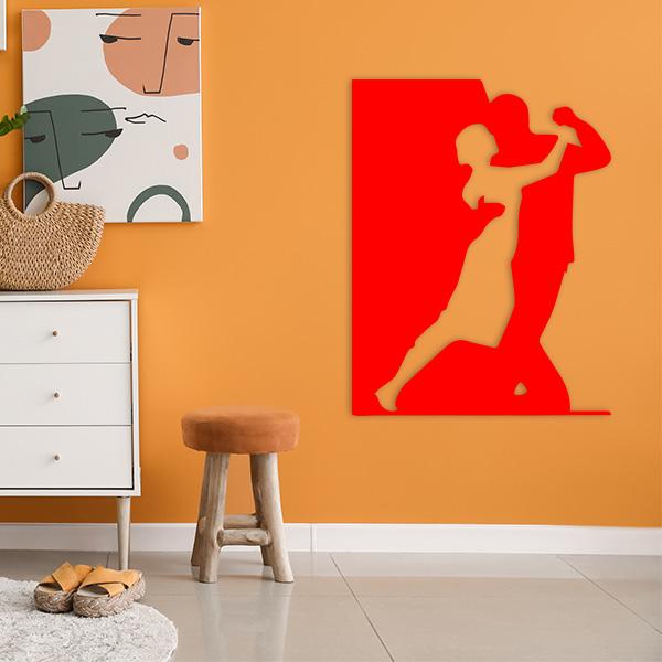 plaque murale metal danseurs rouge salon