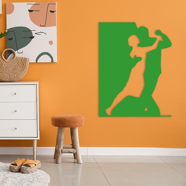 plaque murale metal danseurs vert salon