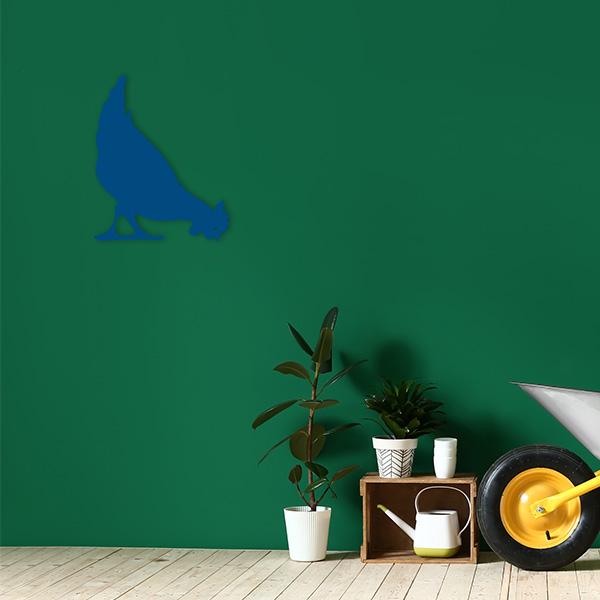 plaque murale metal poule bleu jardin