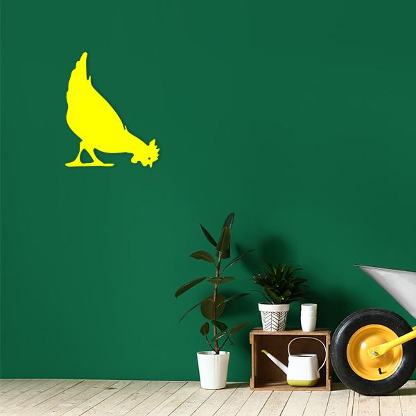 plaque murale metal poule jaune jardin