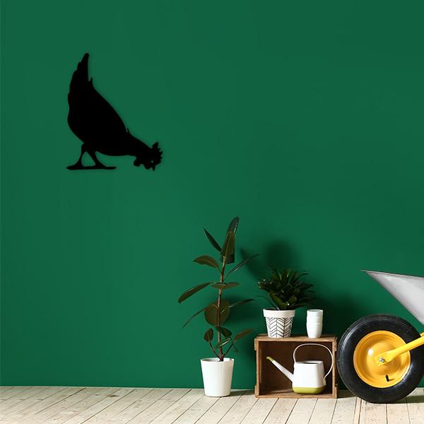 plaque murale metal poule noir jardin