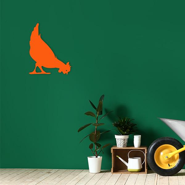 plaque murale metal poule orangejardin