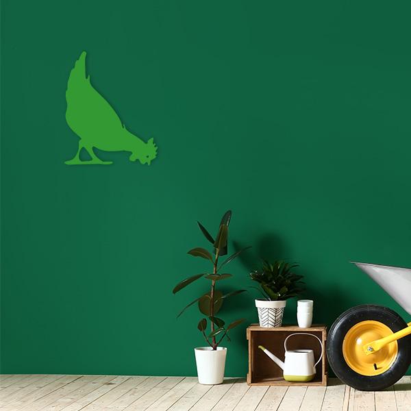 plaque murale metal poule vert jardin
