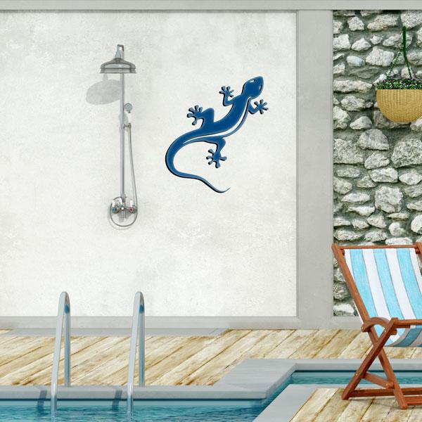 plaque murale en métal Gecko Salamandre bleu dans le jardin