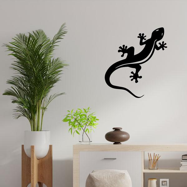plaque murale en métal Gecko Salamandre noir dans le Salon