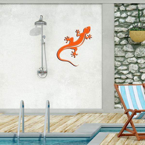 plaque murale en métal Gecko Salamandre orange dans le jardin