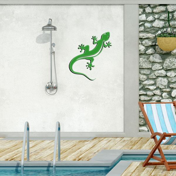plaque murale en métal Gecko Salamandre vert dans le jardin