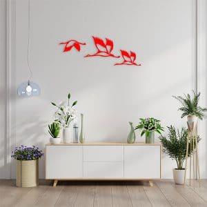 décoration murale métal oiseaux rouge salon