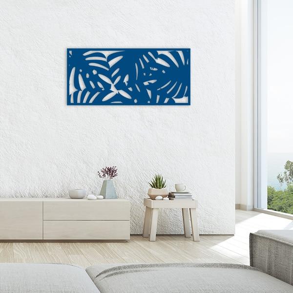 tableau forêt tropicale métal bleu salon