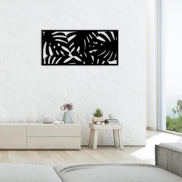 tableau forêt tropicale métal noir salon