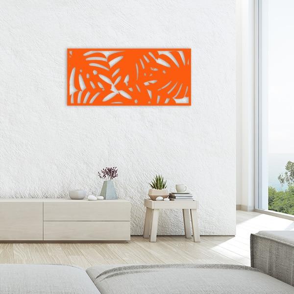 tableau forêt tropicale métal orange salon