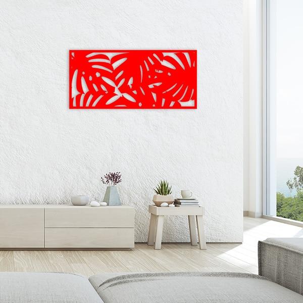 tableau forêt tropicale métal rouge salon