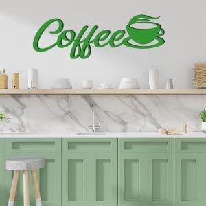 Plaque murale en métal coffee en vert dans cuisine
