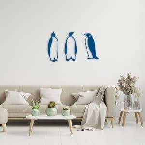 decoration pingouin en metal bleu salon
