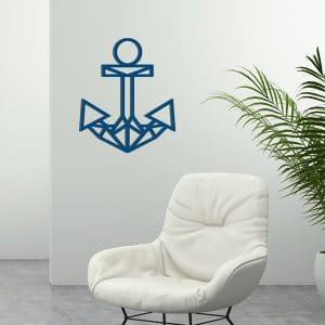 plaque murale en métal ancre bateau en bleu
