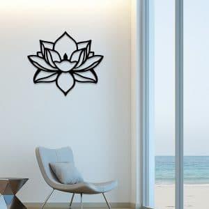 Plaque murale en métal fleur de lotus en noir dans le salon