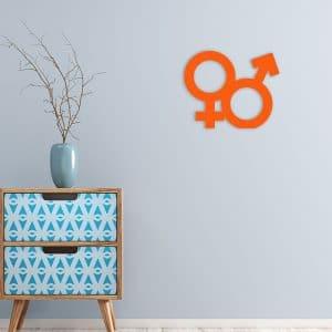 decoration murale metal homme femme orange salon